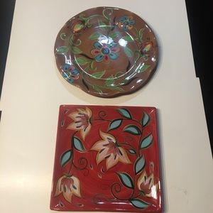 Two Southern Living Gail Pittman painted platters